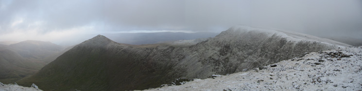 Catstycam and Swirral Edge leading onto Helvellyn from Helvellyn Lower Man's summit