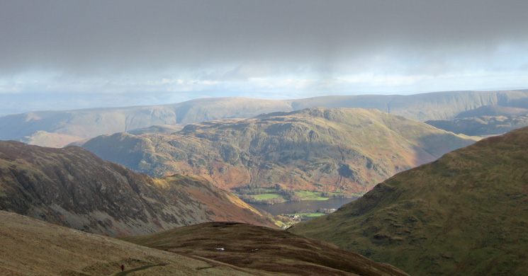 Place Fell with the High Street ridge behind from the top of the Whiteside Bank zig-zags