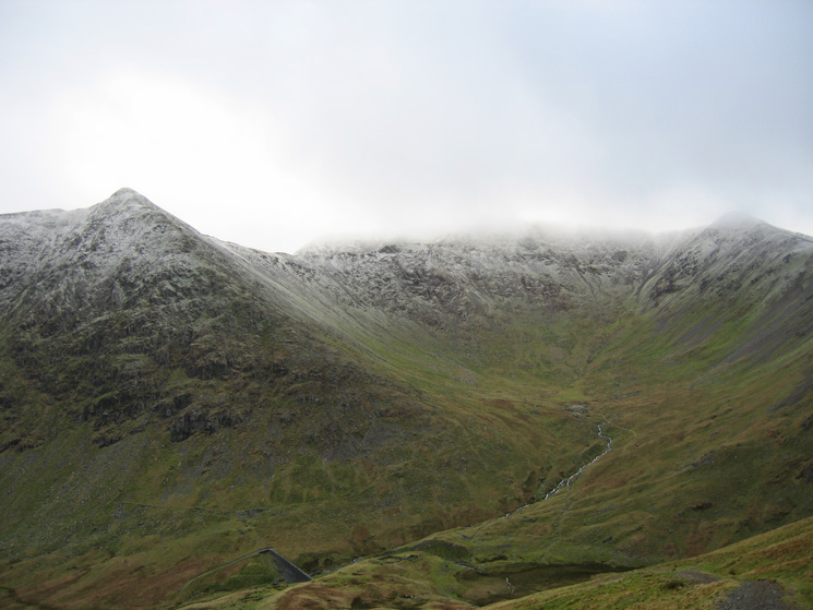 Brown Cove with Catstycam on the left and the top of Helvellyn and Lower Man in cloud