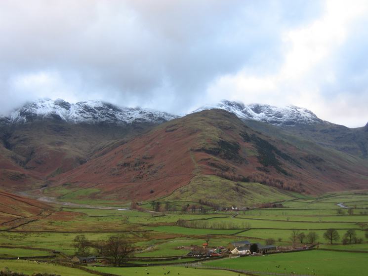 The Band with snow on Crinkle Crags and Bowfell