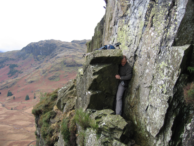 David negotiating The Squeeze, the key to getting onto Lingmoor Fell from Side Pike