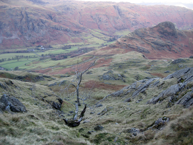 Looking back down our route up Blake Rigg