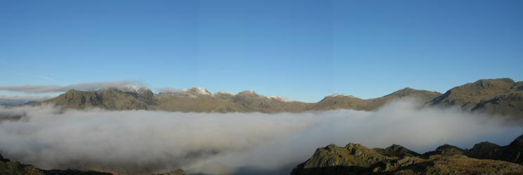 The Scafells, Esk Pike, Bowfell and Crinkle Crags from Hard Knott