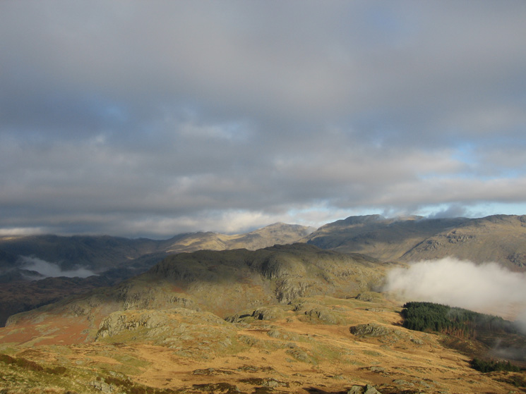 Looking back to Hard Knott as the cloud builds