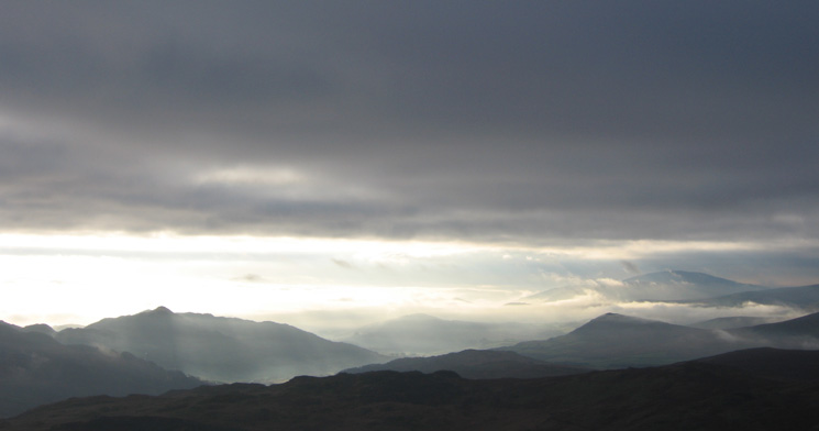 Stickle Pike on the left and The Pike with Black Combe behind on the right form Harter Fell's summit