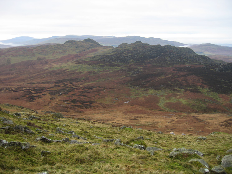 Looking across to Green Crag and Crook Crag from Harter Fell