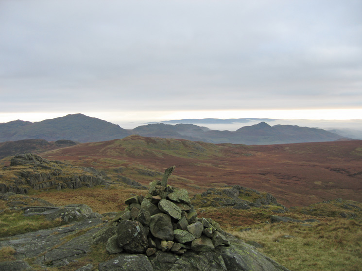 Caw and Stickle Pike from Green Crag's summit