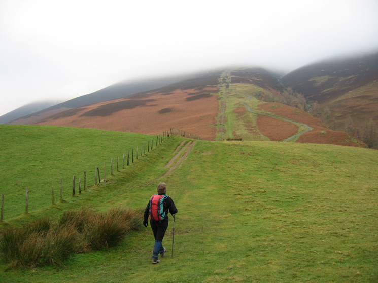 Heading towards Jenkin Hill and up into the cloud