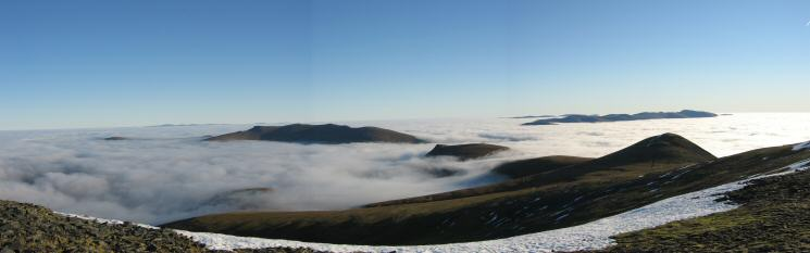 Blencathra, Lonscale Fell, the Helvellyn ridge and Little Man from Skiddaw