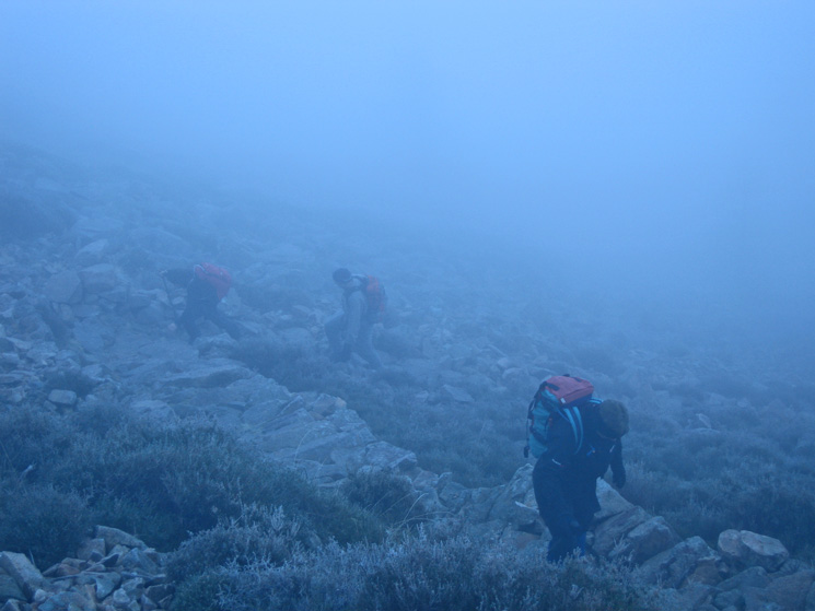 Still in the cloud on a very slippery path, heading for Bleaberry Tarn