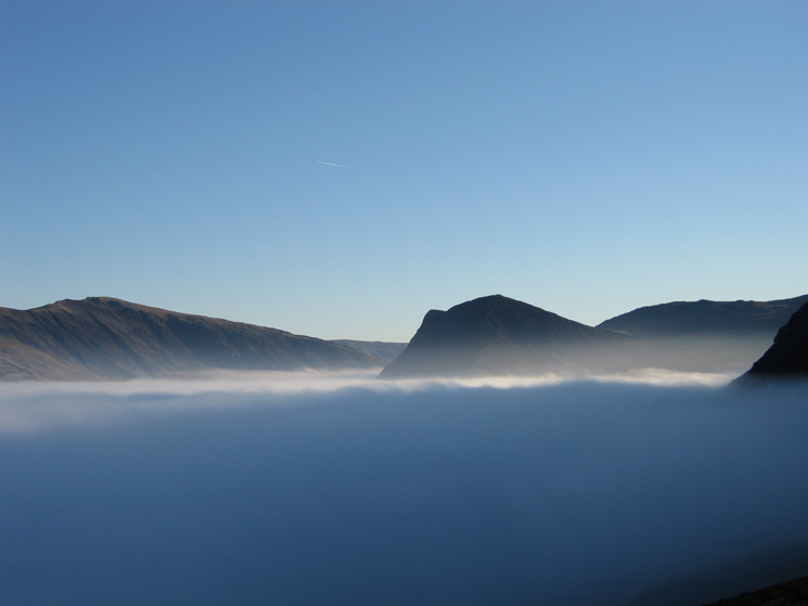 Dale Head and Fleetwith Pike as we break out of the cloud into another world