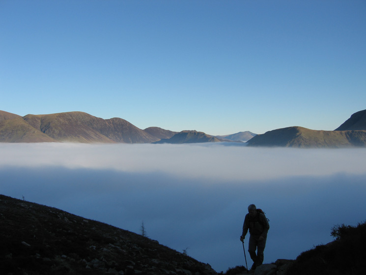 Eel Crag, Sail, Scar Crags, Knott Rigg, Blencathra and High Snockrigg as we climb above the cloud