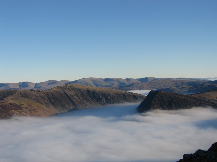 Dale Head and Fleetwith Pike from High Stile with the Helvellyn ridge in the distance