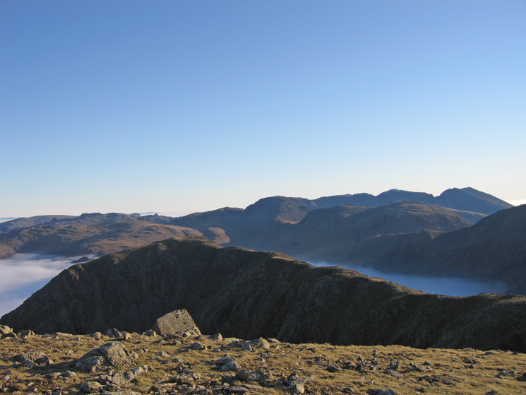 High Crag from High Stile with the Scafells behind right