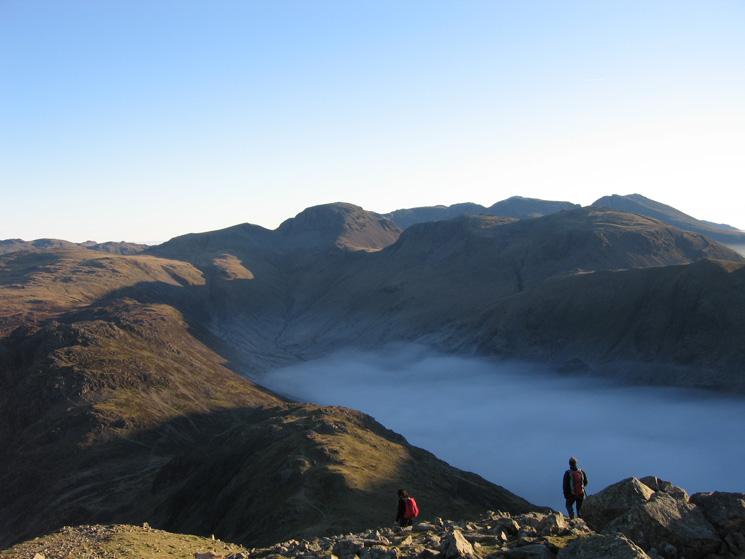 Starting the descent of Gamlin End with Great Gable at the head of Ennerdale