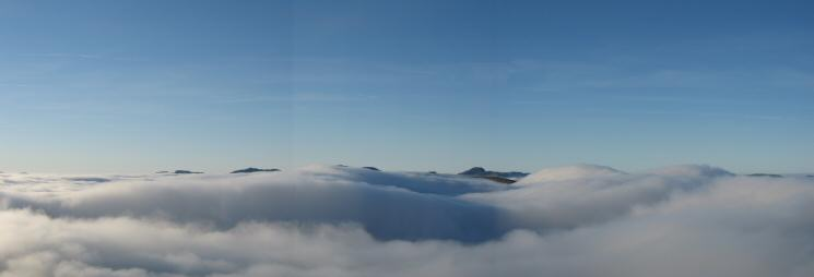 A westerly panorama from Birk Side as we get above the cloud