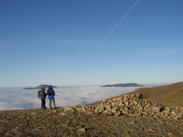 The islands of Skiddaw and Blencathra from White Side's summit