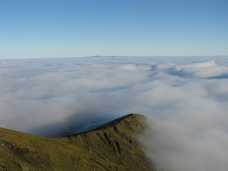 Scales Fell from Blencathra's summit with the North Pennines in the distance