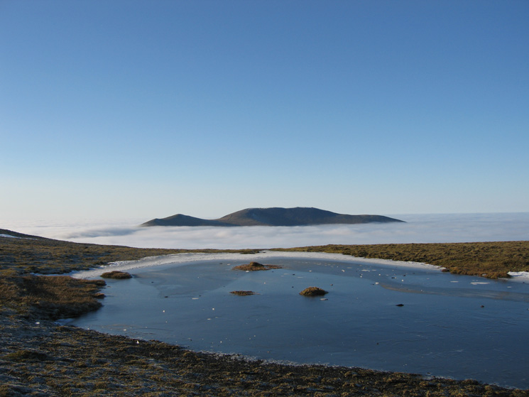 Skiddaw from Blencathra's summit tarn