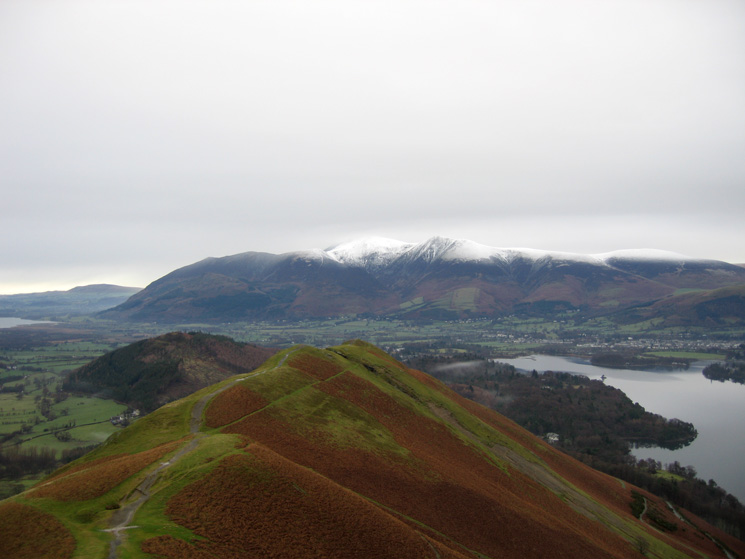 Looking over Skelgill Bank to the Skiddaw fells from Catbells