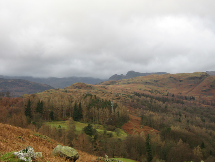 The Langdale Pikes with Silver How in front (summit on the far right)