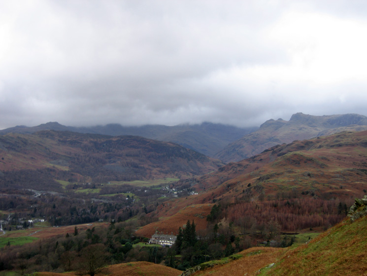 High Close (YHA), Lingmoor Fell with Crinkle Crags and Bowfell behind in cloud and the Langdale Pikes on the right