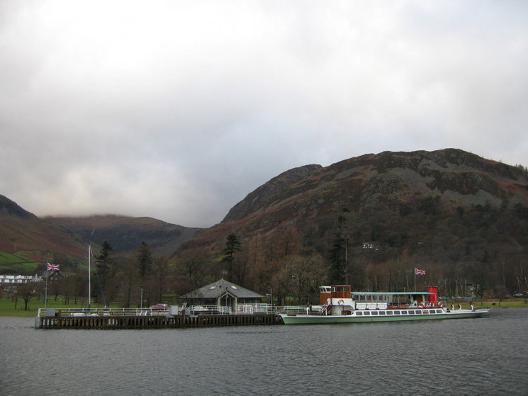 Raven at Glenridding Pier with Glenridding Dodd behind