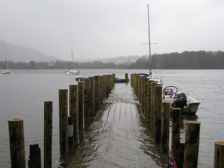 Nichol End jetty, partly under water