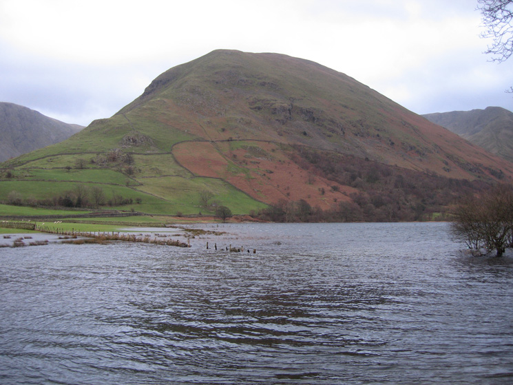 Looking across an enlarged Brothers Water to Hartsop Dodd