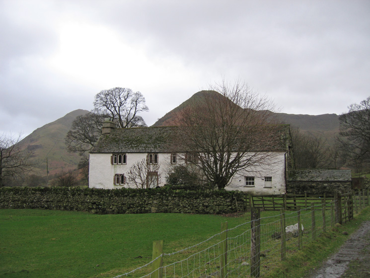 Hartsop Hall with High Hartsop Dodd directly behind and Middle Dodd on the left