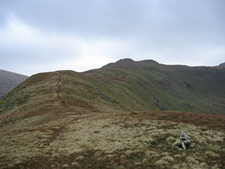 The twin tops of Little Hart Crag from High Hartsop Dodd's summit