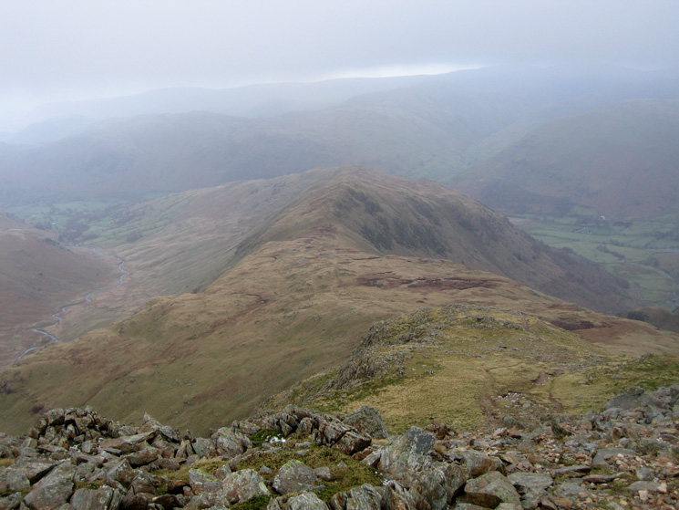 Looking down on the Hartsop Above How ridge from Hart Crag