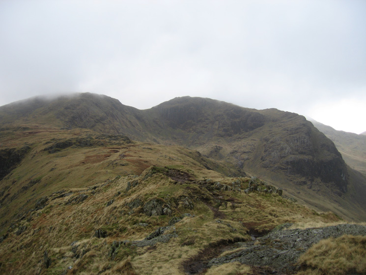 Hart Crag (left) and Greenhow End leading onto Fairfield (right) from Hartsop Above How