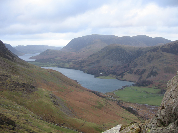 Looking down on Buttermere from the route up Haystacks