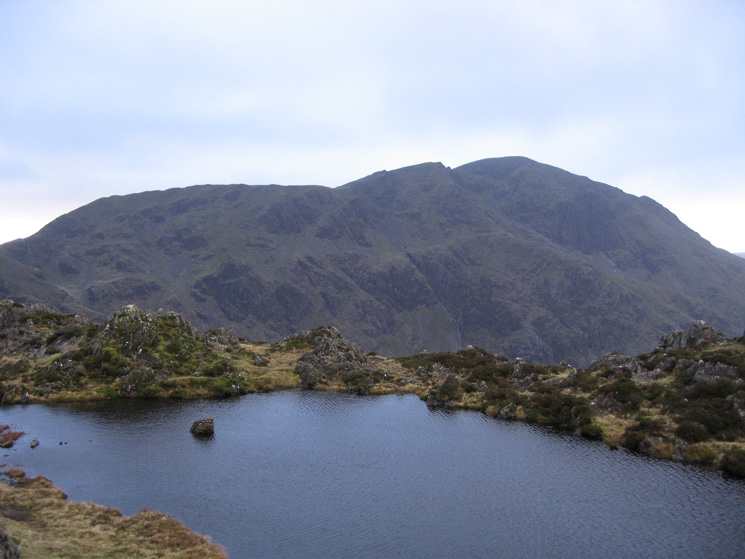 Looking over Haystacks summit tarn to Pillar