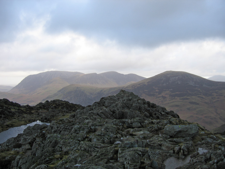 The Grasmoor fells and Robinson from Haystacks summit
