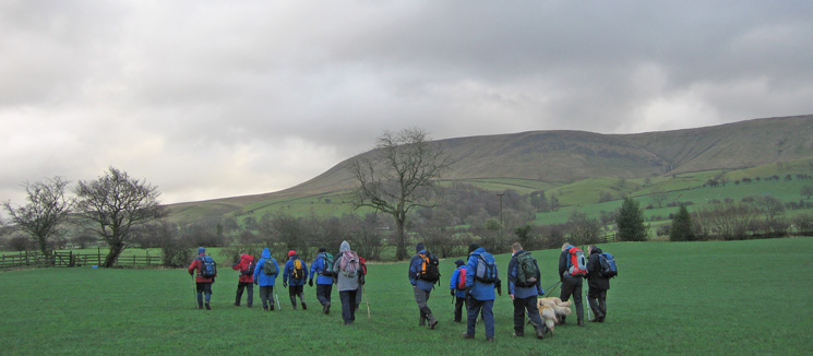 Pendle Hill from the west as we head across the fields to the farm at Lane Side