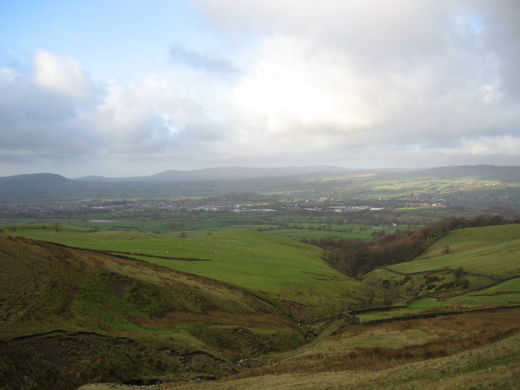 The view west over Clitheroe to the Forest of Bowland