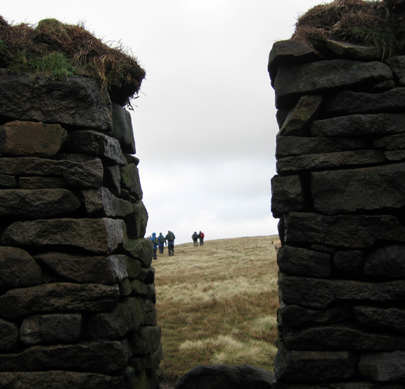 Looking out of the circular shelter