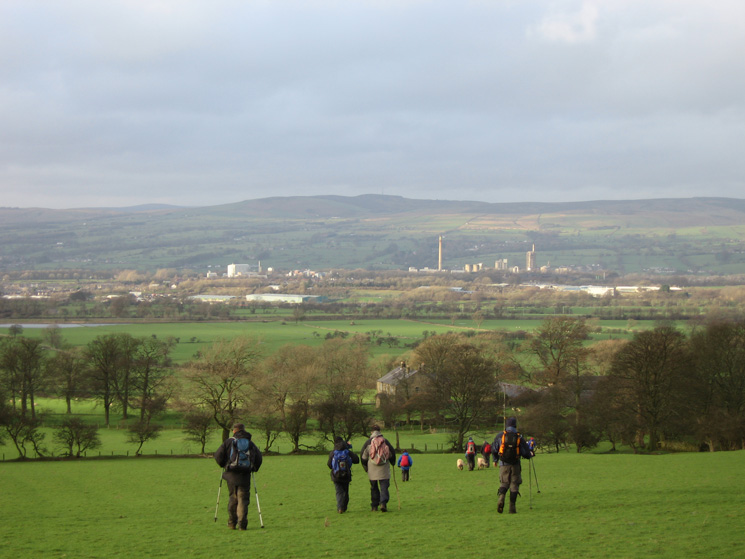 Crossing the fields to Mearley Hall with Clitheroe ahead