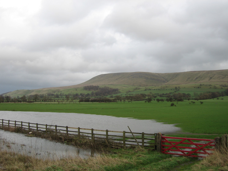 Looking back to Pendle Hill from the A59 and the end of the walk