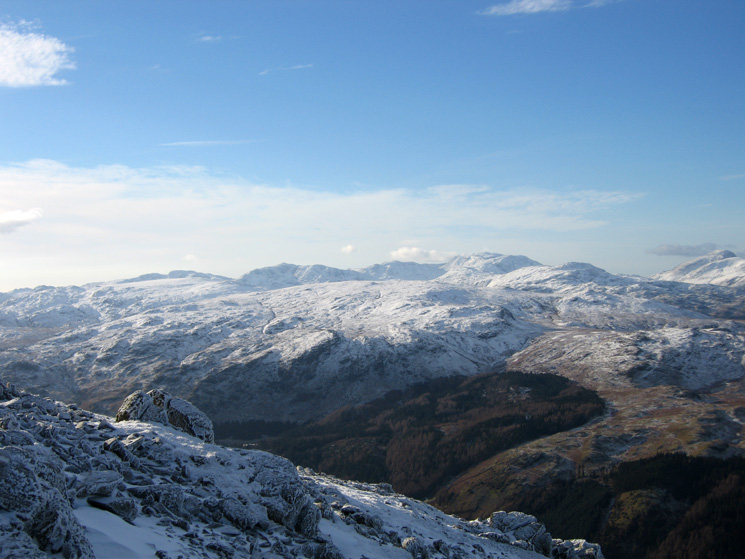 Crinkle Crags, the pointed Bowfell, Esk Pike, the Scafells, Glaramara and Great Gable