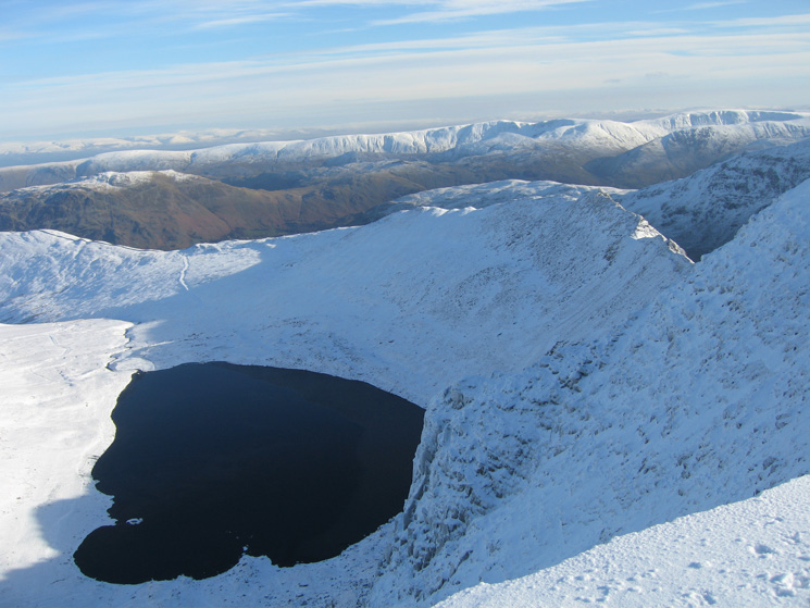 Red Tarn and Striding Edge from Helvellyn's summit