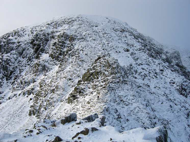 The climb to Helvellyn's summit from the end of Striding Edge