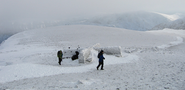 The cross shelter at Helvellyn's summit