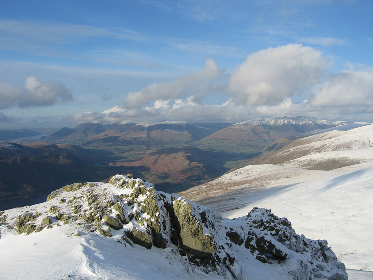 Skiddaw and Blencathra from above Browncove Crags