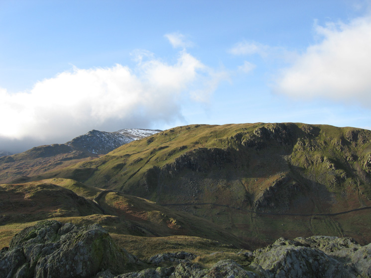 Birks from Arnison Crag's summit with a bit of snow on Saint Sunday Crag behind
