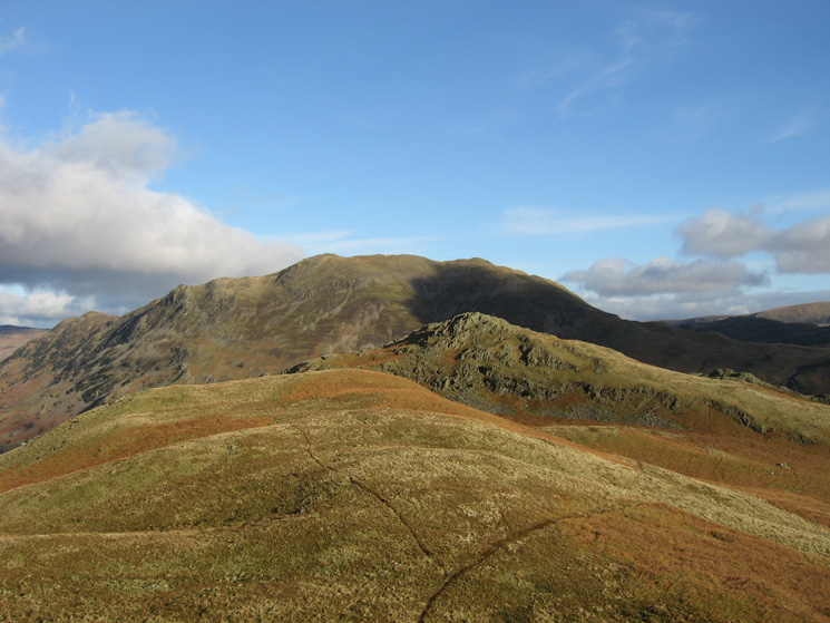 Looking back to Arnison Crag with Place Fell behind