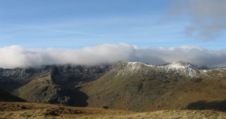 Nethermost Pike's east ridge, High Spying How and Catstycam from Birks summit