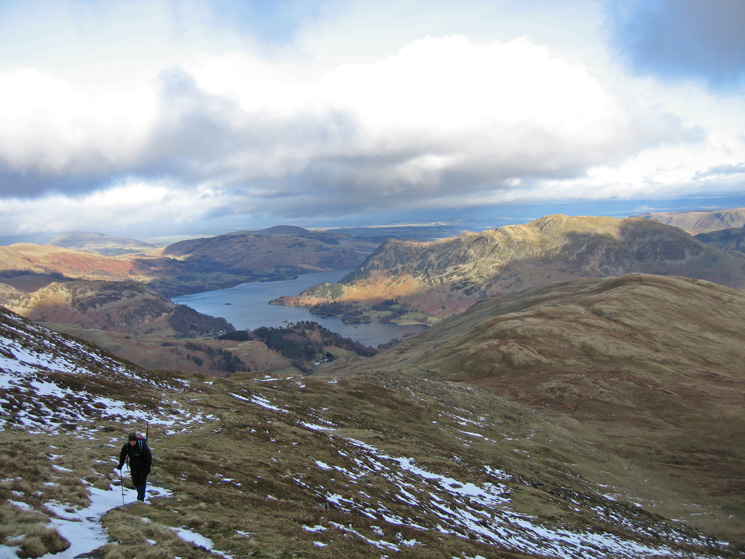 Ascending Saint Sunday Crag from Birks (right) with Ullswater and Place Fell behind